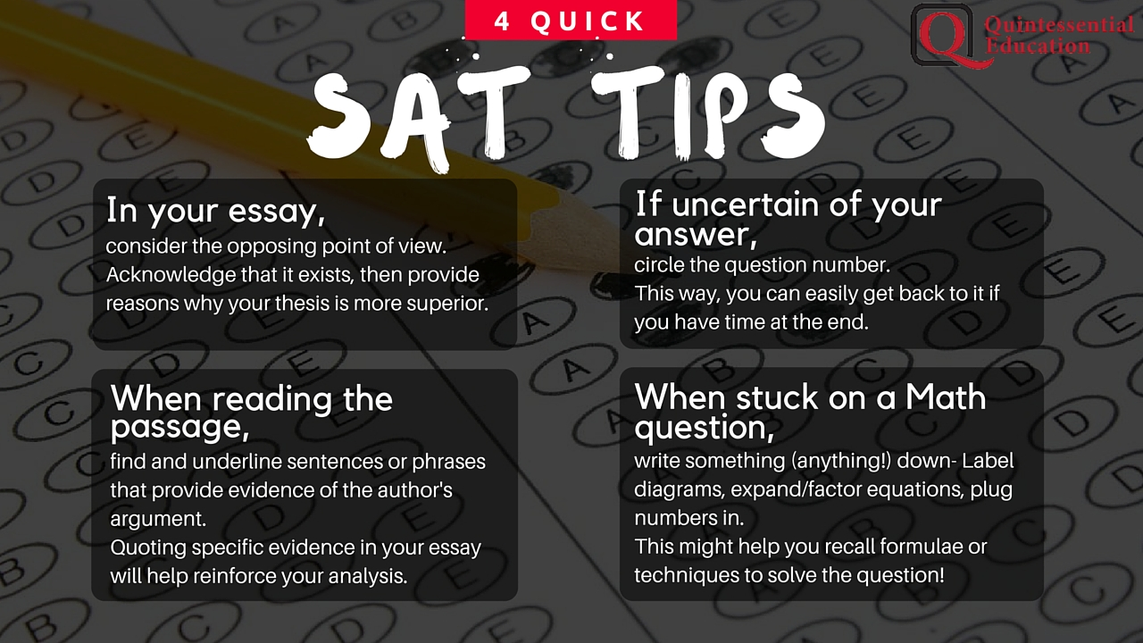 SAT Singapore tips QE Quintessential Education Tuition