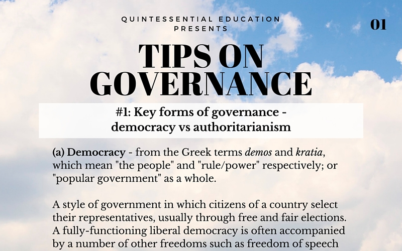 A levels GP General Paper tips QE Quintessential Education Tuition Singapore Governance Government 1
